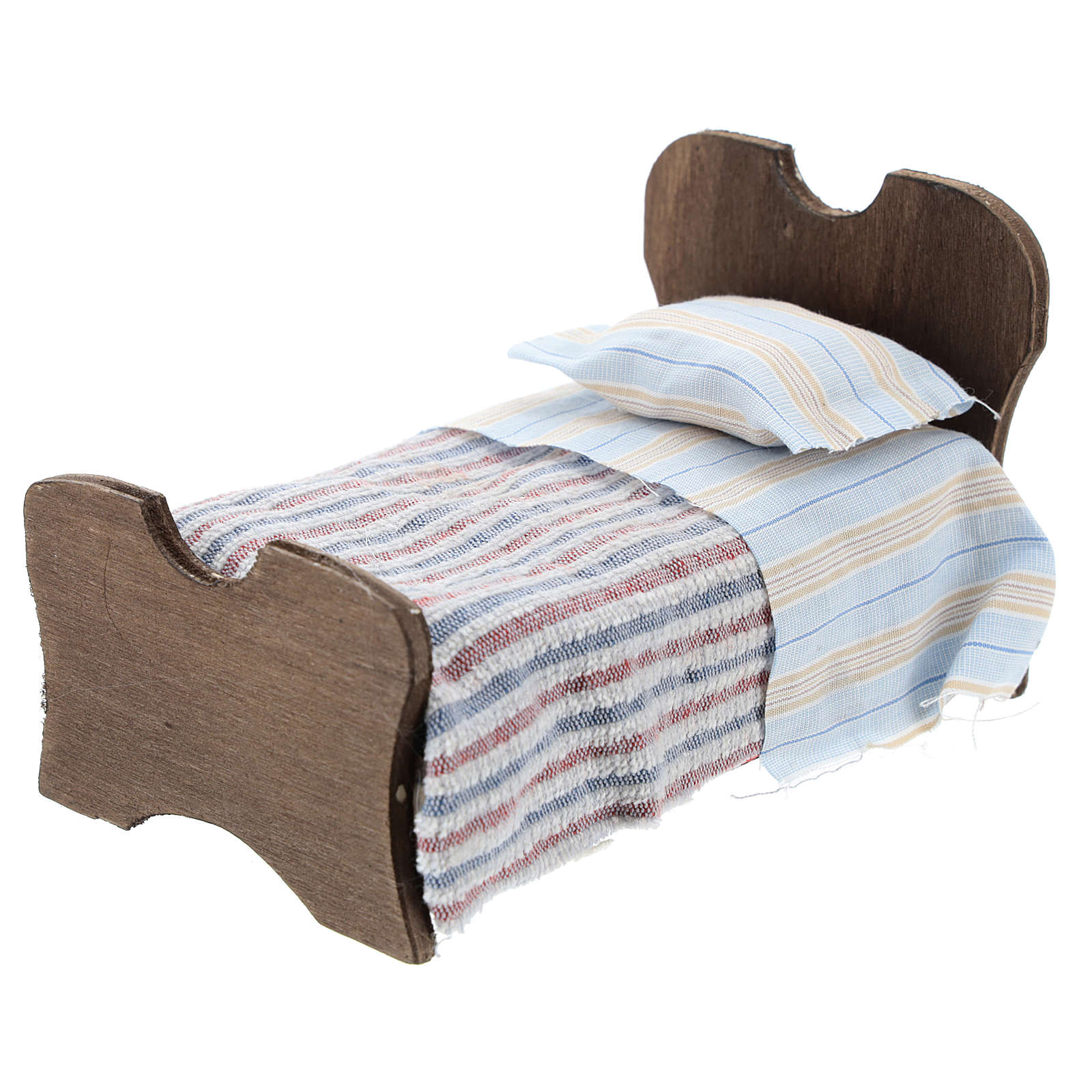 Letto in legno lenzuolo e coperta in tessuto 10 cm 4