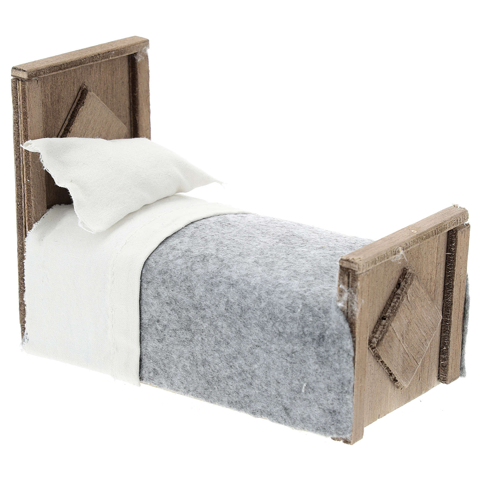 Bed with blanket and fabric sheets for Nativity scenes 15 cm 4