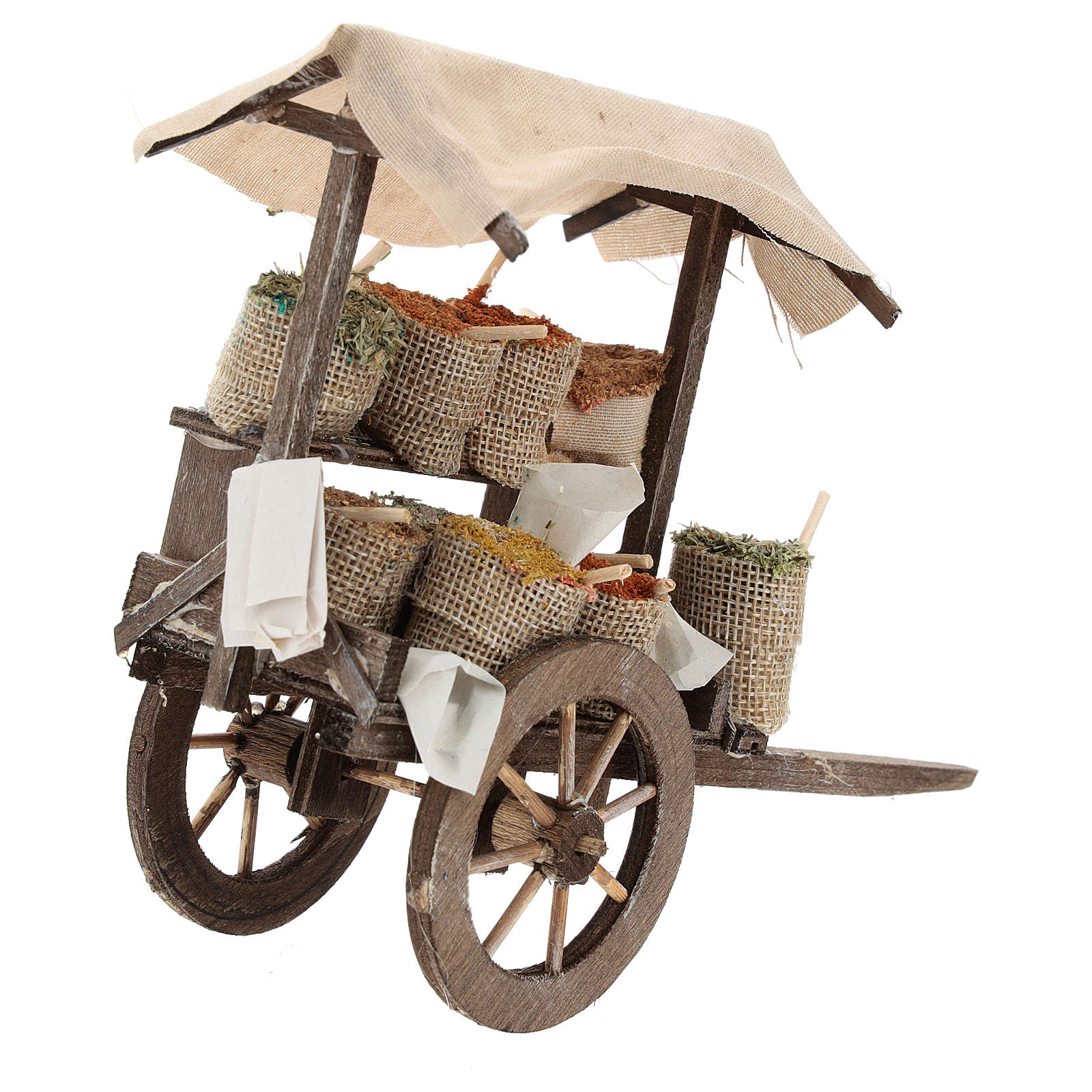 Cart with bags of spices Nativity Scene 12 cm 4
