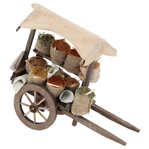 Pull cart with sacks of spices, 12 cm nativity 1