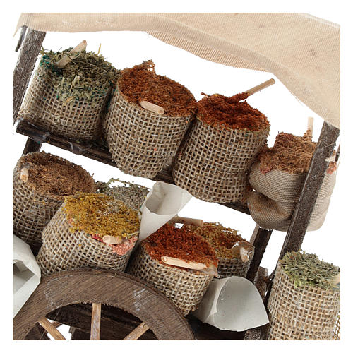 Pull cart with sacks of spices, 12 cm nativity 2