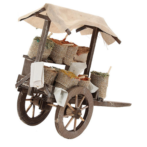 Pull cart with sacks of spices, 12 cm nativity 3