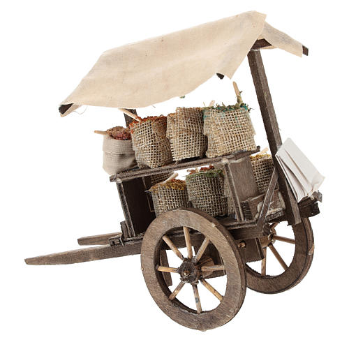 Pull cart with sacks of spices, 12 cm nativity 4