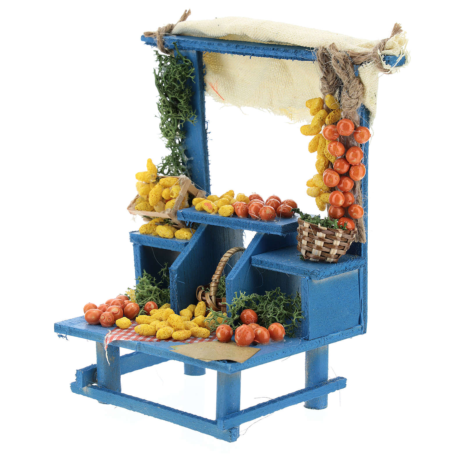 Neapolitan style fruit stand for Nativity scenes 13 cm 4