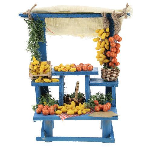 Banco frutta azzurra stile napoletano presepi 13 cm 1