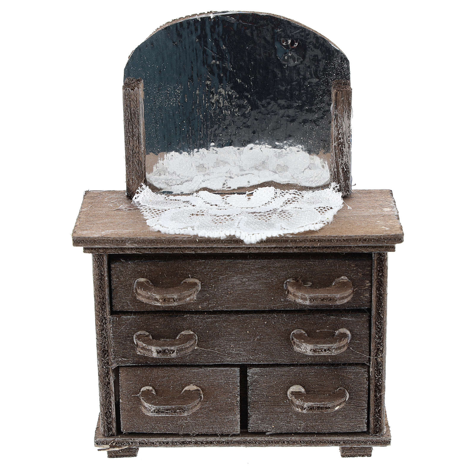 Chest of drawers with mirror and doily for Nativity scenes 10 cm 4