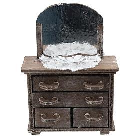 Cassettiera con specchio e centrino per presepi 10 cm s1