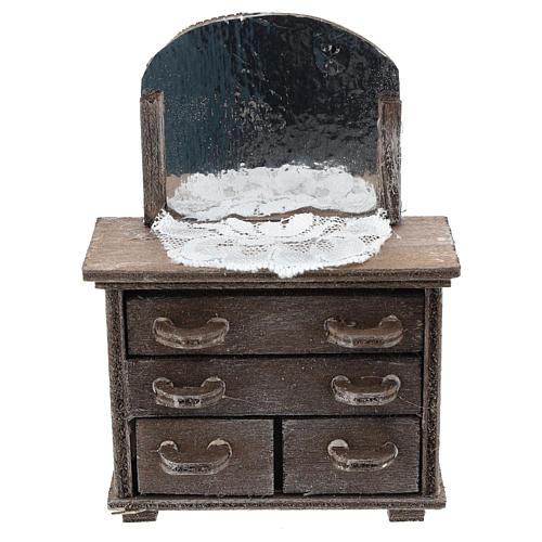 Cassettiera con specchio e centrino per presepi 10 cm 1