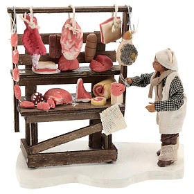 Presépio Napolitano: Estande carne e enchidos com açougueiro para presépio com figuras de 10 cm de altura média
