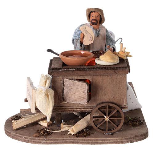 Vendeur ambulant de beignets avec charrette mouvement 13 cm 1