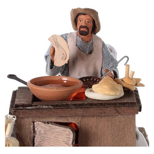 Vendeur ambulant de beignets avec charrette mouvement 13 cm 2