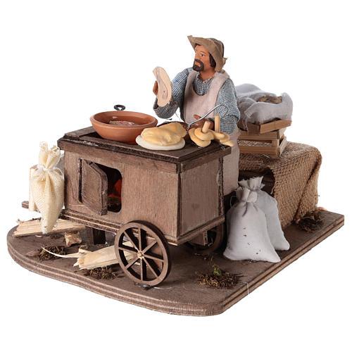 Vendeur ambulant de beignets avec charrette mouvement 13 cm 3