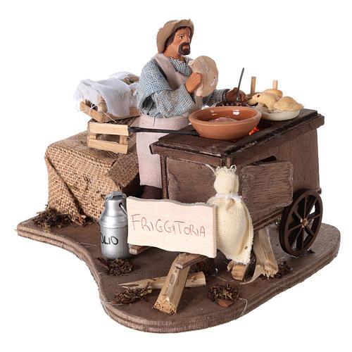 Vendeur ambulant de beignets avec charrette mouvement 13 cm 4