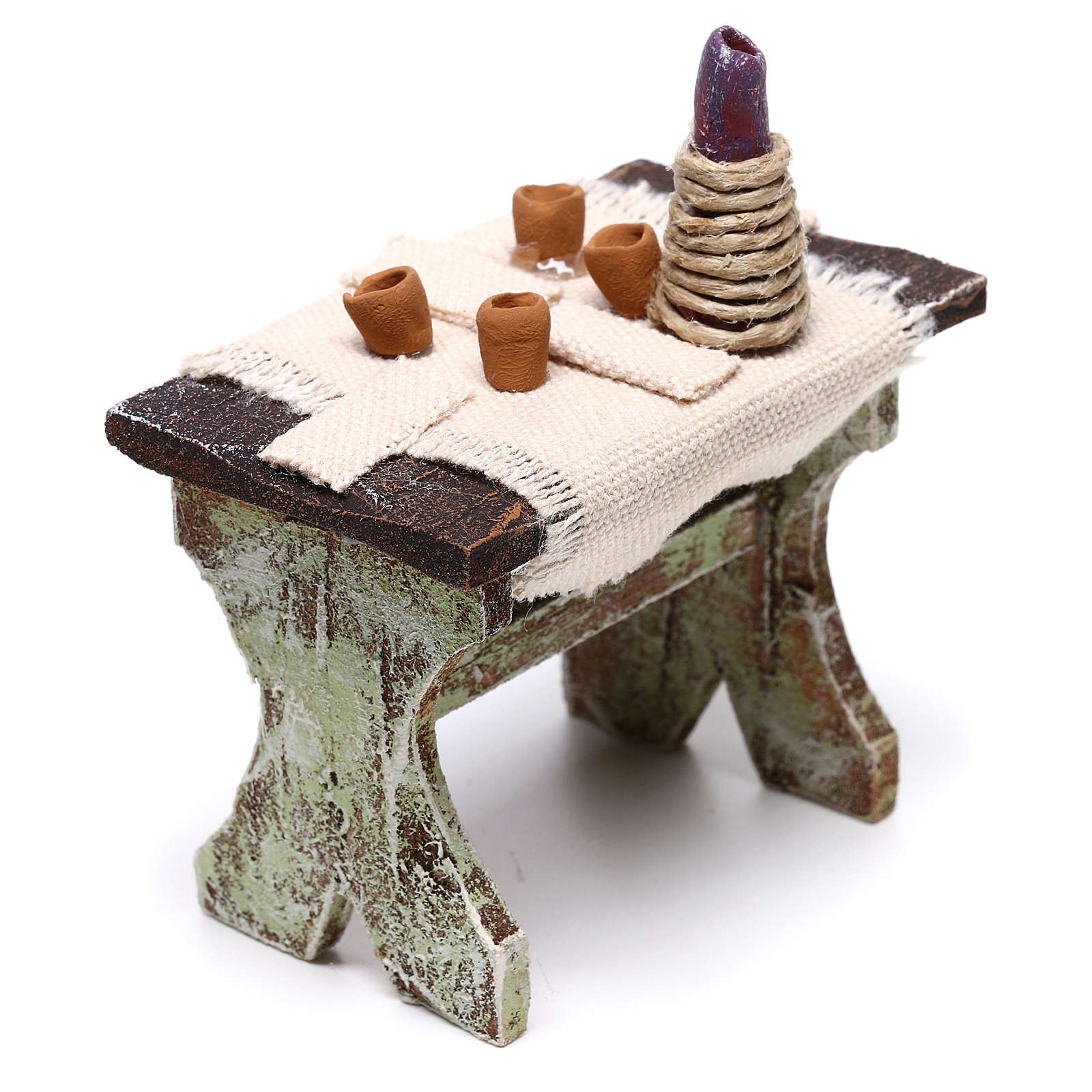 Table with 4 chairs for Nativity scene of 12 cm 5x5x5 cm 4