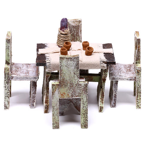 Table with 4 chairs for Nativity scene of 12 cm 5x5x5 cm 1