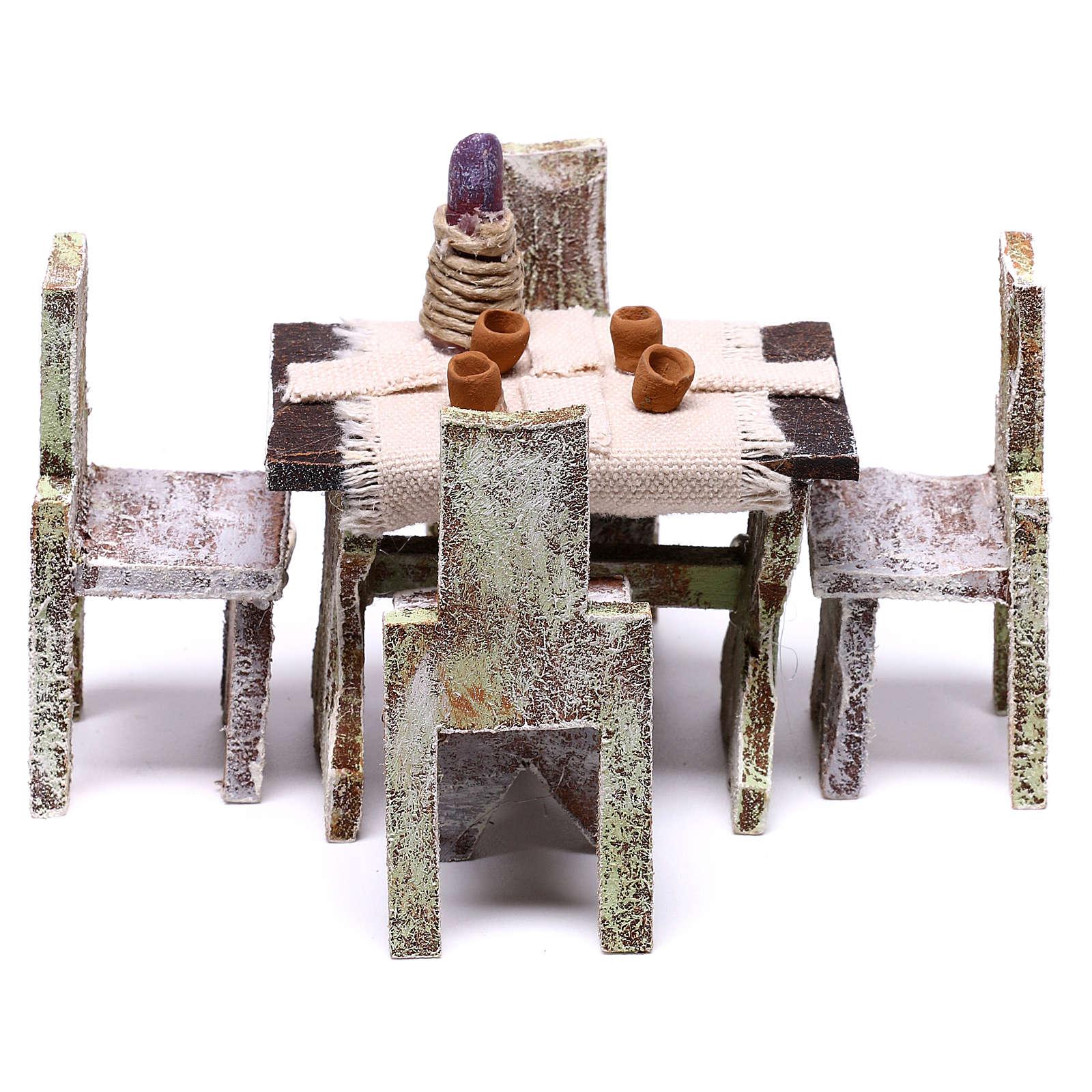 Mesa con 4 sillas para belén de 12 cm 5x5x5 cm 4