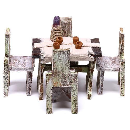 Tavolo con 4 sedie per presepe di 12 cm 5x5x5 cm  1