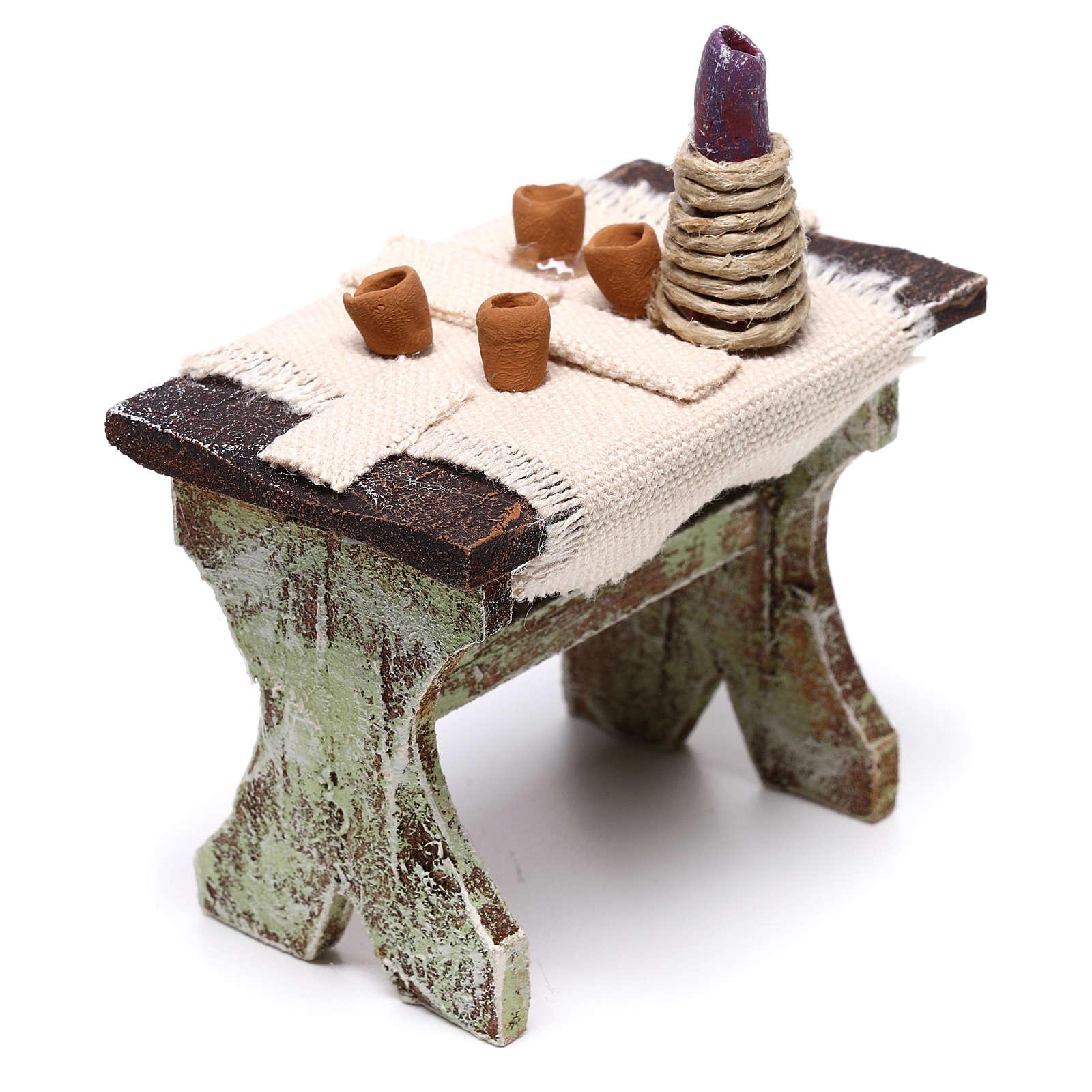 Mesa com 4 cadeiras 5x5x5 cm para presépio com figuras de 12 cm de altura média 4
