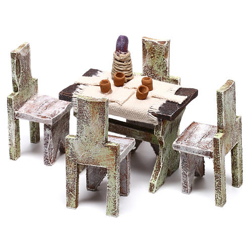 Mesa com 4 cadeiras 5x5x5 cm para presépio com figuras de 12 cm de altura média 2