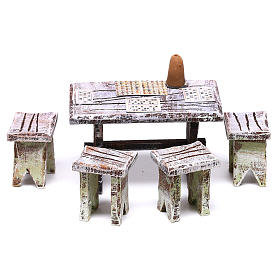 Bingo table and stools of 5x5x5 cm for Nativity scene of 10 cm s1