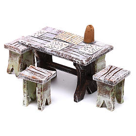 Bingo table and stools of 5x5x5 cm for Nativity scene of 10 cm s2