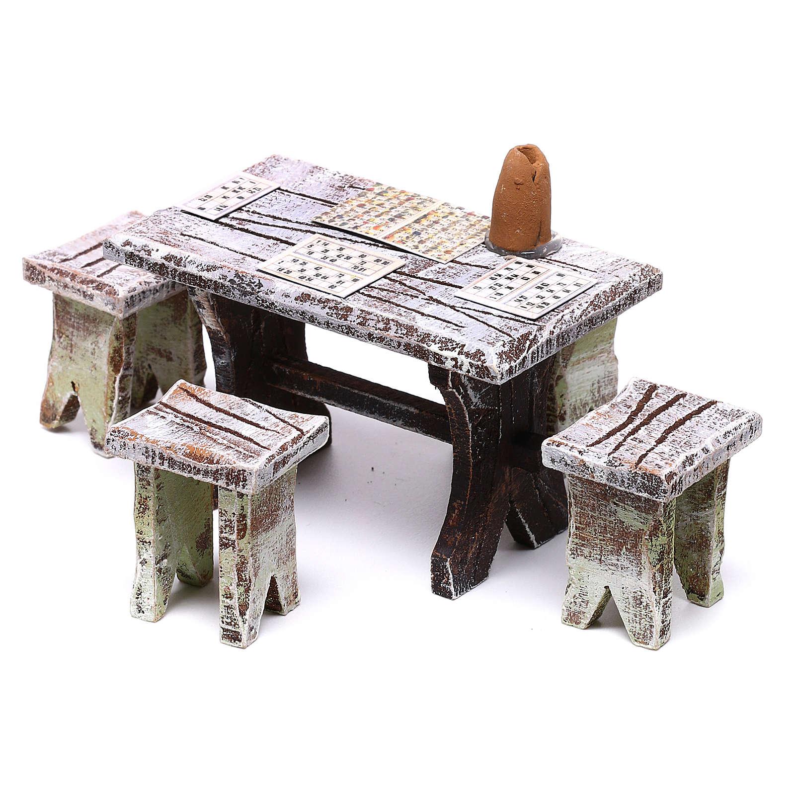 Tavolo tombola e sgabelli di 5x5x5 cm per presepe di 10 cm  4