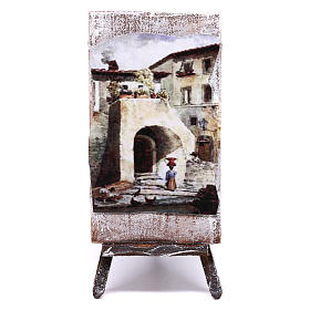 Tripod with painting for Nativity scene of 12 cm 10x5x5 cm s1