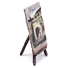 Tripod with painting for Nativity scene of 12 cm 10x5x5 cm s2