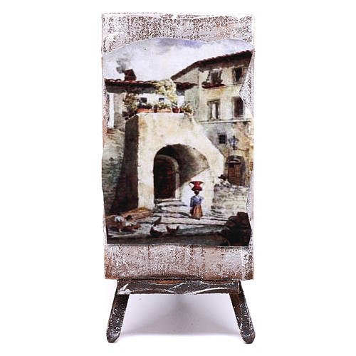 Tripod with painting for Nativity scene of 12 cm 10x5x5 cm 1