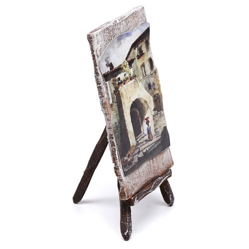 Tripod with painting for Nativity scene of 12 cm 10x5x5 cm 2