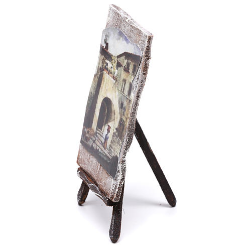 Tripod with painting for Nativity scene of 12 cm 10x5x5 cm 3