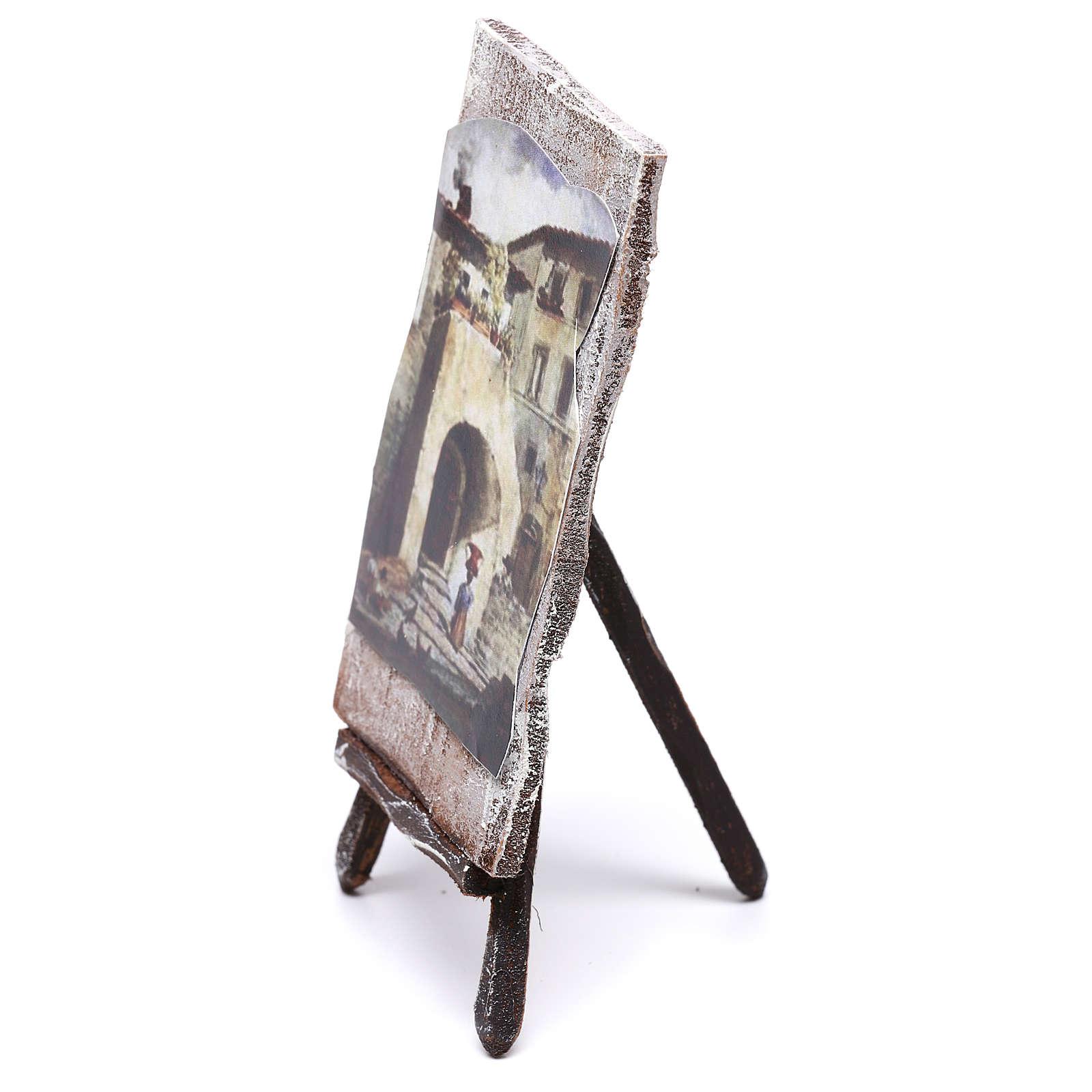Cavalletto con dipinto per presepe di 12 cm 10x5x5 cm  4