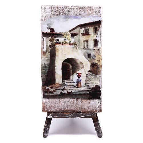 Cavalletto con dipinto per presepe di 12 cm 10x5x5 cm  1