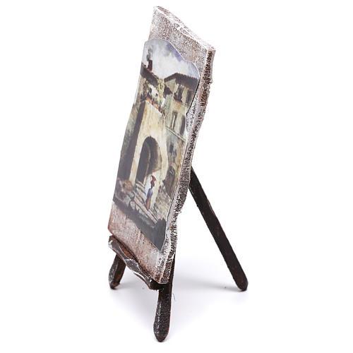 Cavalletto con dipinto per presepe di 12 cm 10x5x5 cm  3