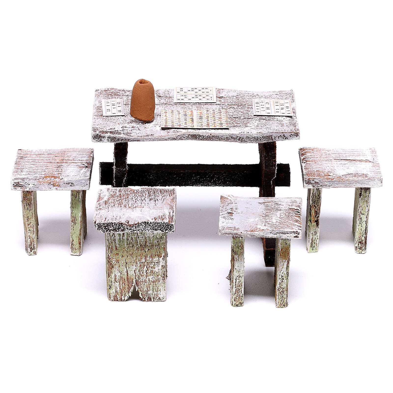 Table tombola avec 4 tabourets 5x5x5 cm pour crèche de 12 cm 4