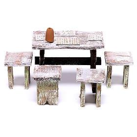 Table tombola avec 4 tabourets 5x5x5 cm pour crèche de 12 cm s1