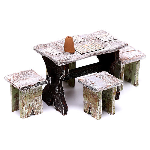 Bingo table and 4 stools of 5x5x5 cm, for 12 cm nativity 2