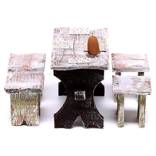 Bingo table and 4 stools of 5x5x5 cm, for 12 cm nativity 3