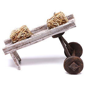 Cart full of hay accessory 10x10x10 cm, for 12 cm nativity s1