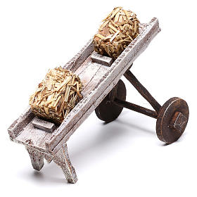 Cart full of hay accessory 10x10x10 cm, for 12 cm nativity s6