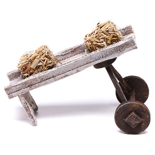 Cart full of hay accessory 10x10x10 cm, for 12 cm nativity 1