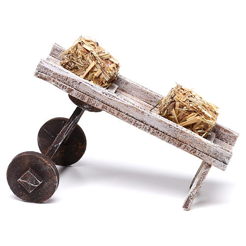 Cart full of hay accessory 10x10x10 cm, for 12 cm nativity 2