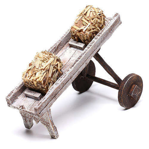 Cart full of hay accessory 10x10x10 cm, for 12 cm nativity 6