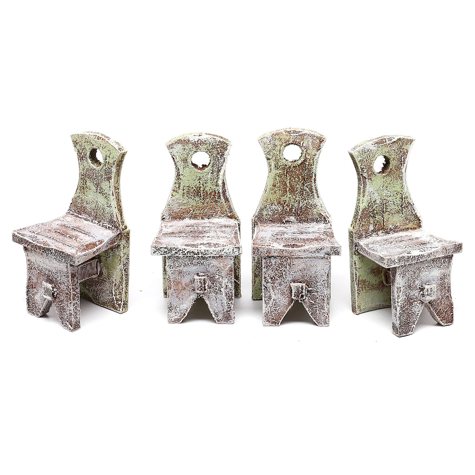 Table with 4 chairs for Nativity scene of 12 cm 10x5x5 cm 4
