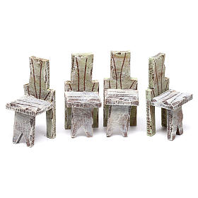 Table with 4 chairs for Nativity scene of 12 cm 10x5x5 cm s3