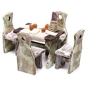 Table with 4 chairs for Nativity scene of 12 cm 10x5x5 cm s6