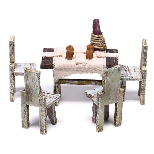 Table with 4 chairs for Nativity scene of 12 cm 10x5x5 cm 1