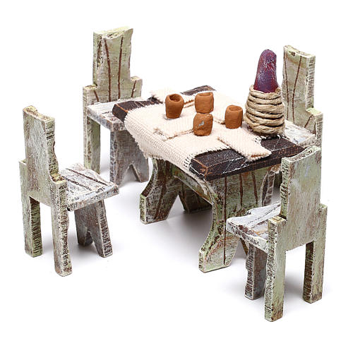Table with 4 chairs for Nativity scene of 12 cm 10x5x5 cm 2