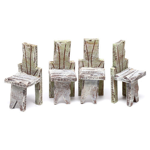 Table with 4 chairs for Nativity scene of 12 cm 10x5x5 cm 3