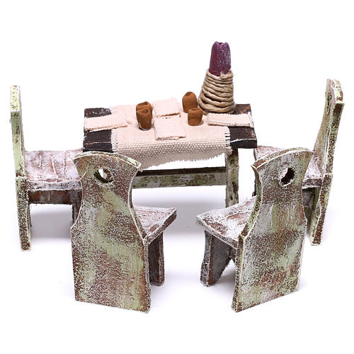 Table with 4 chairs for Nativity scene of 12 cm 10x5x5 cm 5